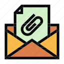 attachment, communication, email, files, mail, message icon