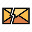 communication, damage, email, mail, message icon