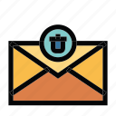 communication, delete, email, mail, message icon
