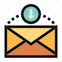 communication, download, email, mail, message icon