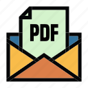 communication, email, file, mail, message, pdf icon