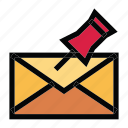 communication, email, mail, message, pinned icon