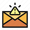 communication, email, mail, malware, message, warning icon
