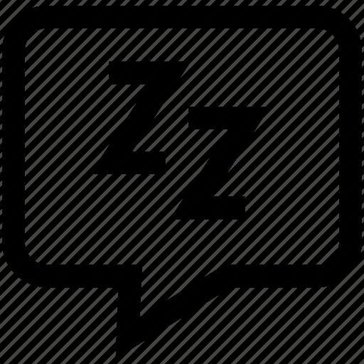 chat bubble, conversation, dialogue, sleeping, speech bubble, zz icon
