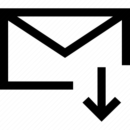 arrow, decrease, down, envelope, fall, loss, mail icon