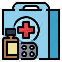 healthcare, first, emergency, aid, medica, kit icon