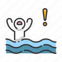 danger, drowning, hand, help, rescue, sea, water icon