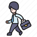 business, man, men, office, people, person, walk icon