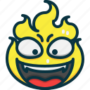 flame, emoji, emotions, fire, angry, emoticon