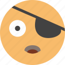 emoji, face, happy, joke, look, pirate icon