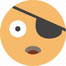 emoji, face, happy, joke, look, pirate icon