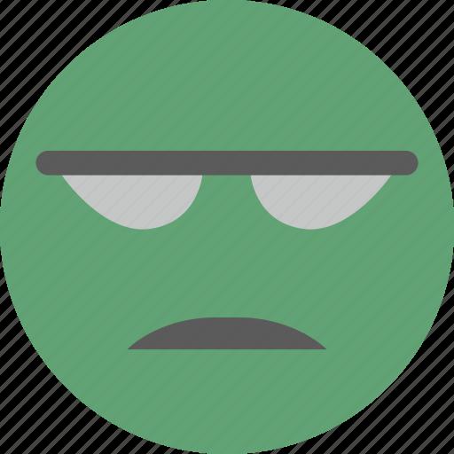 avatar, emoji, face, green, impatient icon