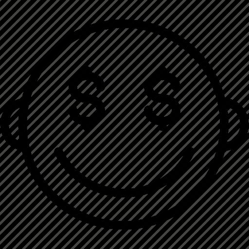 dollar, emoji, emoticons, emotion, face, money, smiley icon