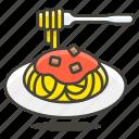 delicious, food, spaghetti icon