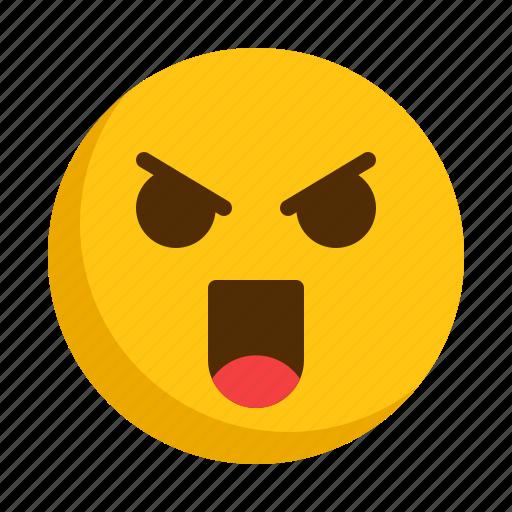angry, emoji, emoticon, emotion, mad icon
