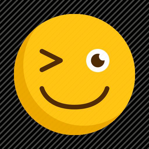 blink, emoji, emoticon, expression, happy, smile, smiley icon