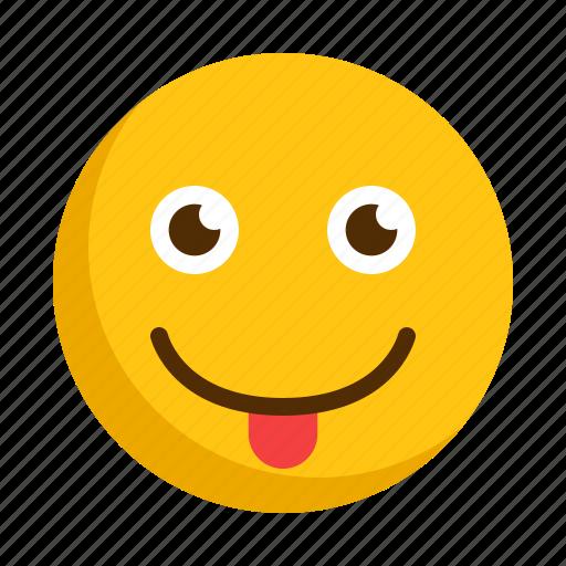 emoji, emoticon, emotion, face, happy, smile, tongue icon