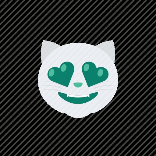 cat, emoji, emoticon, emotion, happy, love, romance icon