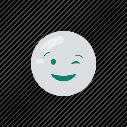emoji, emoticon, emotion, smile, wink icon