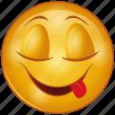 cartoon, emoji, emotion, face, happy, smile, tongue icon