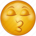 cartoon, character, emoji, emotion, face, kiss, smiley