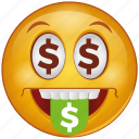 cartoon, dollar, emoji, emotion, face, money, smiley