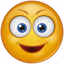 cartoon, character, emoji, emotion, face, happy, smile icon