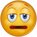 bemused, cartoon, emoji, emotion, face, nodding, sad