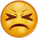 bemused, cartoon, character, emoji, emotion, face, upset icon