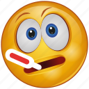 cartoon, character, emoji, emotion, face, sick, thermometer