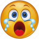 cartoon, crying, emoji, emotion, face, sad, smiley icon