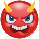 cartoon, devil, emoji, emotion, evil, face, smiley