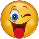 cartoon, cheeky, emoji, emotion, face, smiley, tongue icon