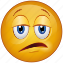 bored, cartoon, character, emoji, emotion, face, tired