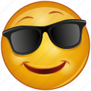 cartoon, emoji, emotion, face, glasses, happy, smile icon