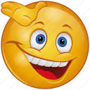 cartoon, emoji, emotion, face, hand, happy, smile icon