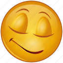 cartoon, emoji, emotion, face, happy, relax, smile