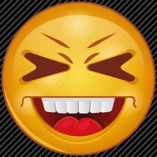 cartoon, emoji, emotion, face, happy, loud, smile icon