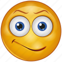 cartoon, emoji, emotion, face, happy, non-serious, smile