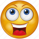 cartoon, emoji, emotion, face, happy, loud, smile icon