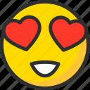 emoji, emoticon, eyes, face, heart, love, mood icon