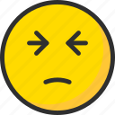 emoji, emoticon, face, mood, pain icon