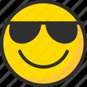 emoji, emoticon, face, glasses, mood, smile, sun icon