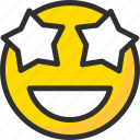 emoticon, mood, smile, star, emoji, eyes, face