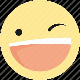 emoji, emoticons, laugh, smile, wink icon
