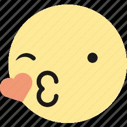 emoji, emoticons, kiss, love, wink icon