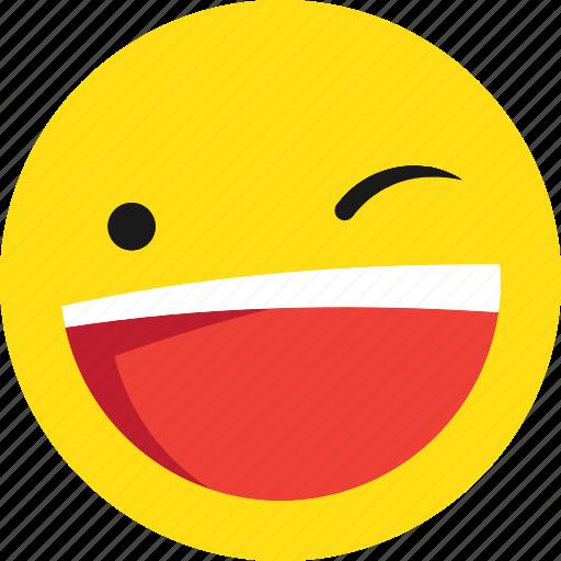 emoji, emoticons, happy, wink icon