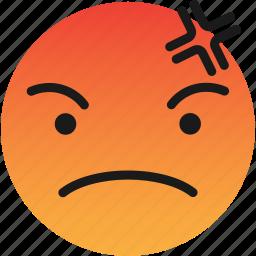 angry, bad, emoji, emoticons, mean icon