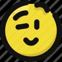 emoji, emoticon, feelings, happy, smileys, wink icon