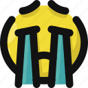 cry, emoji, emoticon, feelings, sad, smileys, tears icon